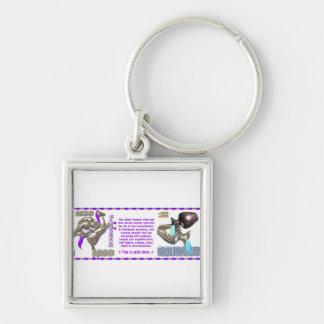 Valxart 1990 2050 MetalHorse zodiac Aquarius Silver-Colored Square Keychain