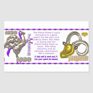 Valxart 1990 2050 MetalHorse zodiac Aries Rectangular Sticker