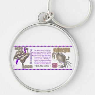 Valxart 1990 2050 MetalHorse zodiac Cancer Silver-Colored Round Keychain