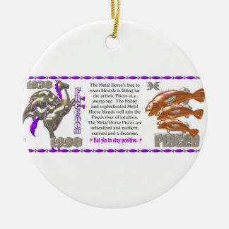 Valxart 1990 2050 MetalHorse zodiac Pisces Ceramic Ornament