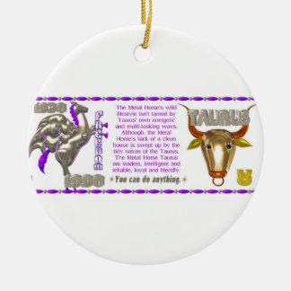 Valxart 1990 2050 MetalHorse zodiac Taurus Ceramic Ornament