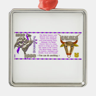 Valxart 1990 2050 MetalHorse zodiac Taurus Metal Ornament