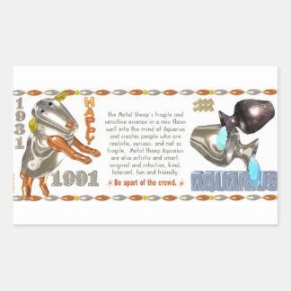 Valxart 1991 2051 MetalSheep zodiac Aquarius Rectangular Sticker