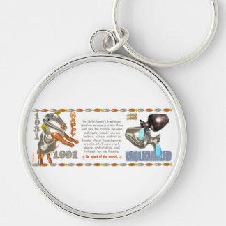 Valxart 1991 2051 MetalSheep zodiac Aquarius Silver-Colored Round Keychain