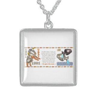 Valxart 1991 2051 MetalSheep zodiac Aquarius Square Pendant Necklace