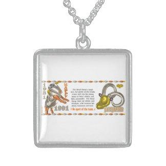 Valxart 1991 2051 MetalSheep zodiac  Aries Square Pendant Necklace