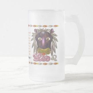 Valxart 1991 2051 MetalSheep zodiac Leo Frosted Glass Beer Mug