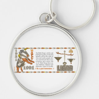 Valxart 1991 2051 MetalSheep zodiac Libra Silver-Colored Round Keychain