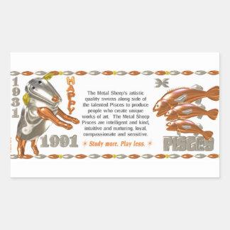 Valxart 1991 2051 MetalSheep zodiac Pisces Rectangular Sticker