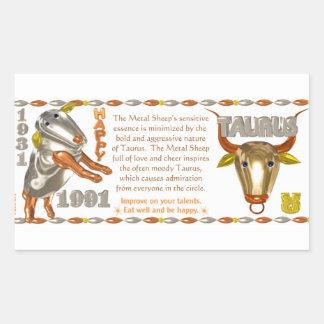Valxart 1991 2051 MetalSheep zodiac Taurus Rectangular Sticker