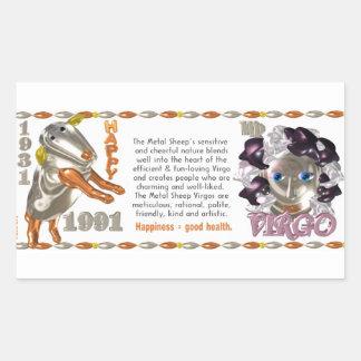 Valxart 1991 2051 MetalSheep zodiac Virgo Rectangular Sticker
