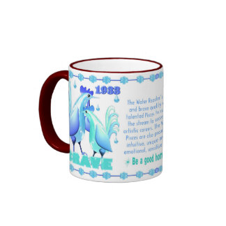 Valxart 1993 2053 WaterRooster zodiac  Pisces Ringer Mug