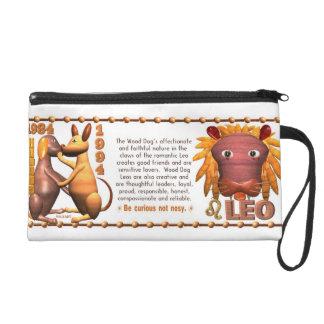 Valxart 1994 2054 WoodDog zodiac Leo Wristlet Purse