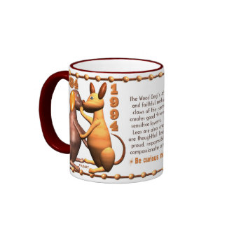Valxart 1994 2054 WoodDog zodiac Leo Ringer Mug