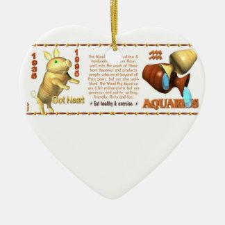 Valxart 1995 2055 acuarios del zodiaco de WoodPig Adorno Navideño De Cerámica En Forma De Corazón