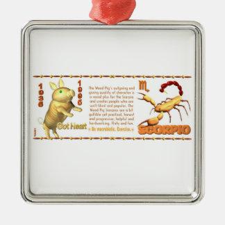 Valxart 1995 2055 escorpiones del zodiaco de adorno navideño cuadrado de metal