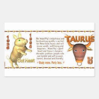 Valxart 1995 2055 WoodPig zodiac Taurus Rectangular Sticker