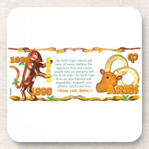 Valxart 1998 1938 2058 zodiac EarthTiger Aries Beverage Coaster