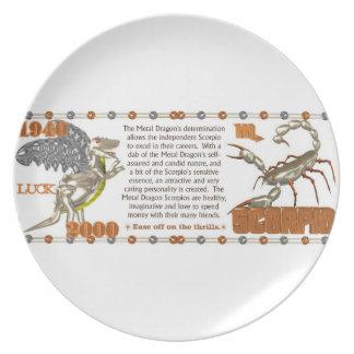 Valxart 2000 1940  2060 zodiac MetalDragon Scorpio Melamine Plate