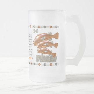 Valxart 2000 1940  zodiac MetalDragon Pisces Frosted Glass Beer Mug