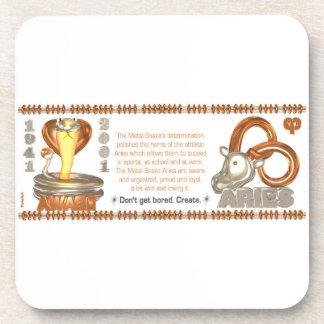 Valxart 2001 1941  2061 zodiac MetalSnake Aries Drink Coaster