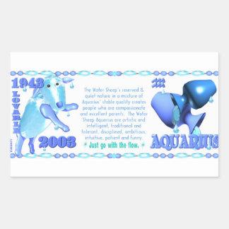 Valxart 2003 1943 2063 zodiac WaterSheep Aquarius Rectangular Sticker