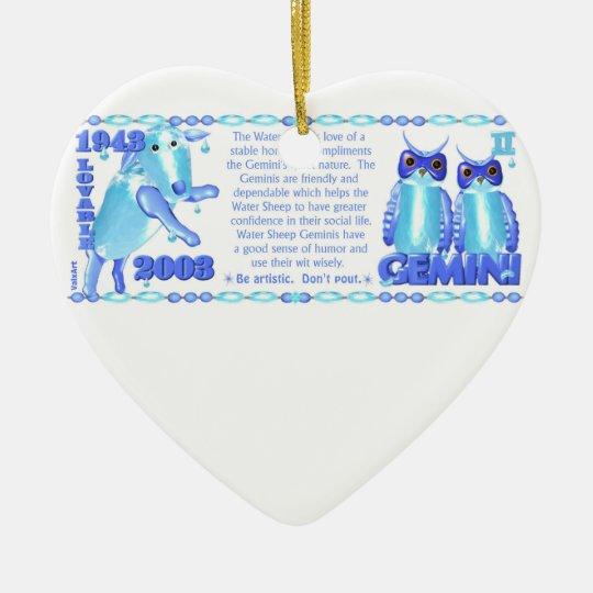 Valxart 2003 1943 2063 zodiac WaterSheep Gemini Ceramic Ornament