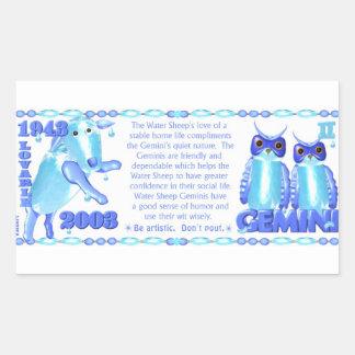 Valxart 2003 1943 2063 zodiac WaterSheep Gemini Rectangular Sticker