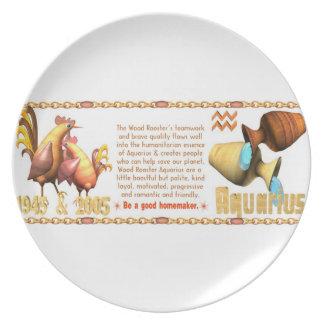 Valxart 2005 1945 2065 zodiac WoodRooster Aquarius Dinner Plates