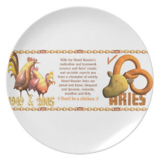 Valxart 2005 1945 2065 zodiac WoodRooster Aries Party Plates