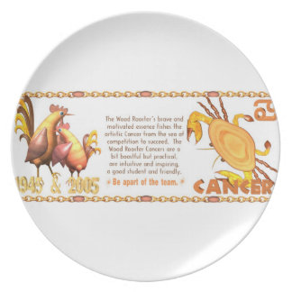Valxart 2005 1945 2065 zodiac WoodRooster Cancer Dinner Plates