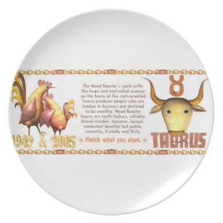 Valxart 2005 1945 2065 zodiac WoodRooster Taurus Party Plates