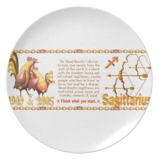 Valxart 2005 1945 zodiac WoodRooster  Sagittarius Dinner Plates