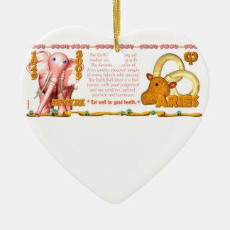 Valxart 2009 1949 2069 aries del zodiaco de adorno navideño de cerámica en forma de corazón