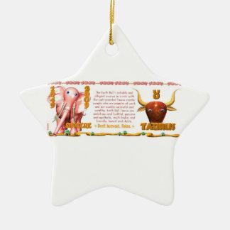 Valxart 2009 1949 2069 tauro del zodiaco de adorno navideño de cerámica en forma de estrella