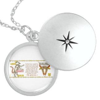Valxart 2010 2070 1950 MetalTiger  zodiac Taurus Round Locket Necklace