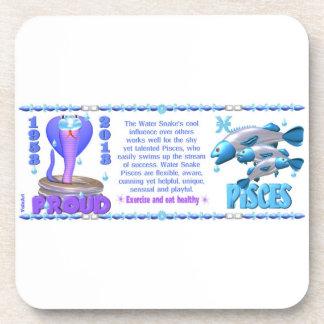 Valxart 2013 2073 1953 WaterSnake Pisces zodiac Drink Coaster