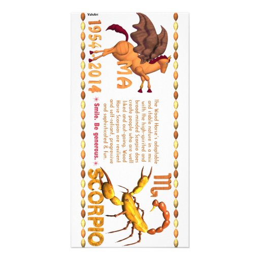 Valxart 2014 2074 1954 WoodHorse zodiac Scorpio Customized Photo Card