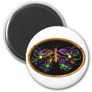 Valxart abstract spiral butterfly 2 inch round magnet
