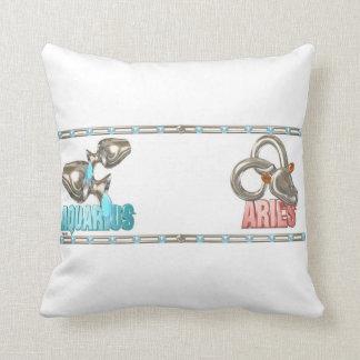 Valxart Aquarius Aries zodiac friendship Throw Pillow
