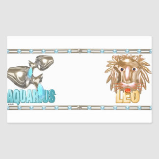 Valxart Aquarius Leo zodiac friendship Rectangular Sticker