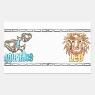 Valxart Aquarius Leo zodiac friendship Rectangular Sticker