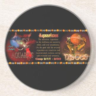 Valxart Aquarius Pisces zodiac Cusp Drink Coasters
