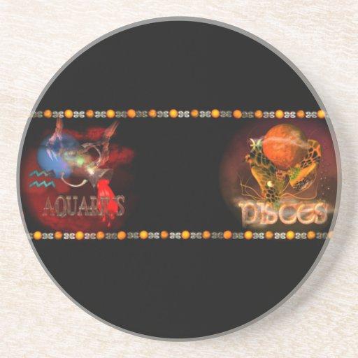 Valxart Aquarius Pisces zodiac Cusp Coaster