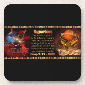Valxart Aquarius Pisces zodiac Cusp Beverage Coasters