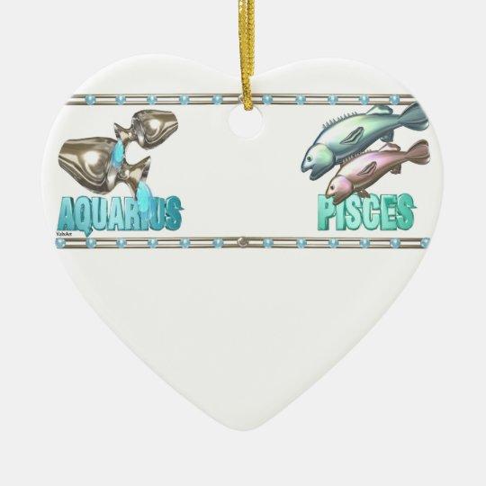 Valxart Aquarius Pisces zodiac friendship Ceramic Ornament