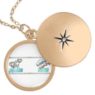 Valxart Aquarius Pisces zodiac friendship Round Locket Necklace