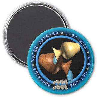 Valxart Aquarius zodiac logo 3 Inch Round Magnet