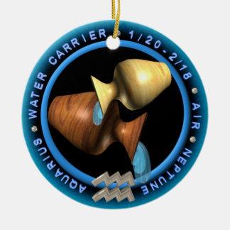 valxart Aquarius zodiac logo Ceramic Ornament