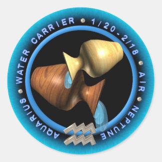 Valxart Aquarius zodiac logo Classic Round Sticker